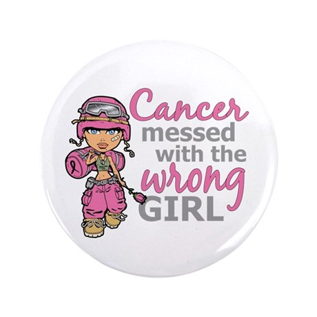 "Combat Girl Breast Cancer 3.5"" Button"