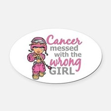 Combat Girl Breast Cancer Oval Car Magnet