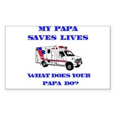 Ambulance Saves Lives-Papa Rectangle Decal