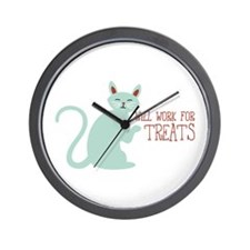 Will Work For Treats Wall Clock