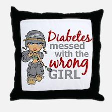 Combat Girl Diabetes Throw Pillow