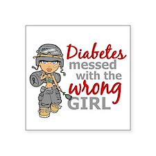 "Combat Girl Diabetes Square Sticker 3"" x 3"""