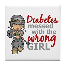 Combat Girl Diabetes Tile Coaster