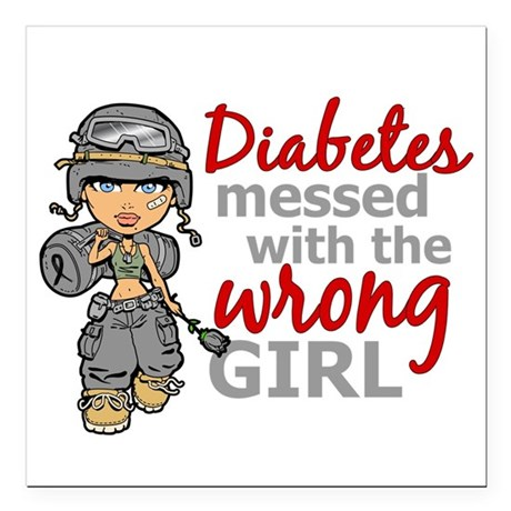 "Combat Girl Diabetes Square Car Magnet 3"" x 3"""
