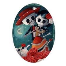 Dia de Los Muertos Mexican Lovers Ornament (Oval)