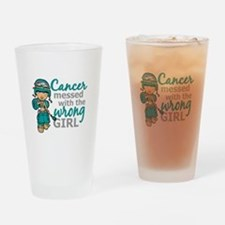 Combat Girl Ovarian Cancer Drinking Glass