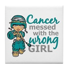 Combat Girl Ovarian Cancer Tile Coaster