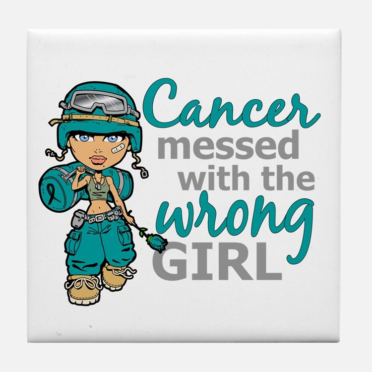 Combat Girl Ovarian Cancer Tile Coaster