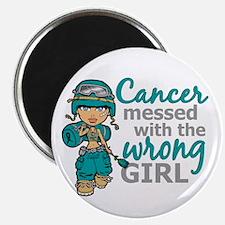 """Combat Girl Ovarian Cancer 2.25"""" Magnet (100 pack)"""