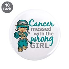 "Combat Girl Ovarian Cancer 3.5"" Button (10 pack)"