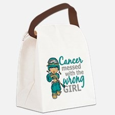 Combat Girl Ovarian Cancer Canvas Lunch Bag