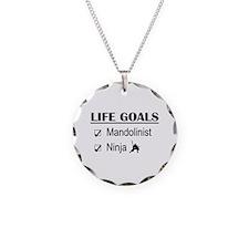 Mandolinist Ninja Life Goals Necklace Circle Charm