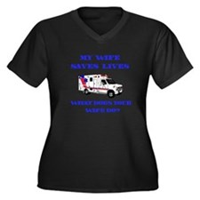 Ambulance Saves Lives-Wife Women's Plus Size V-Nec