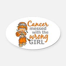 Combat Girl Leukemia Oval Car Magnet