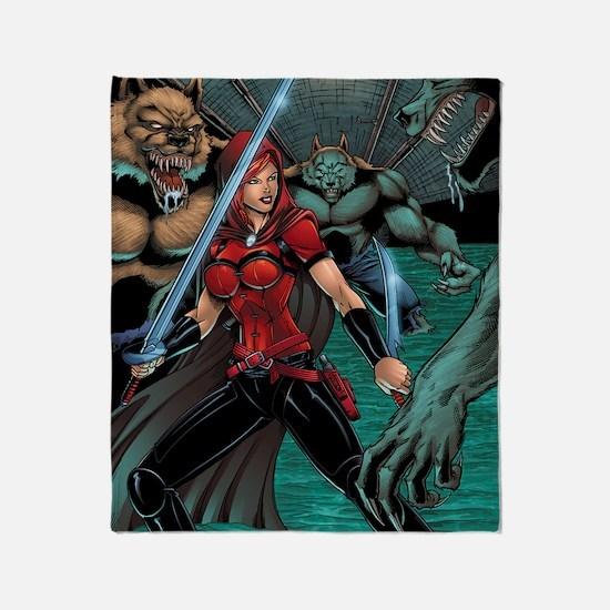 Scarlet Huntress vs Werewolves Throw Blanket