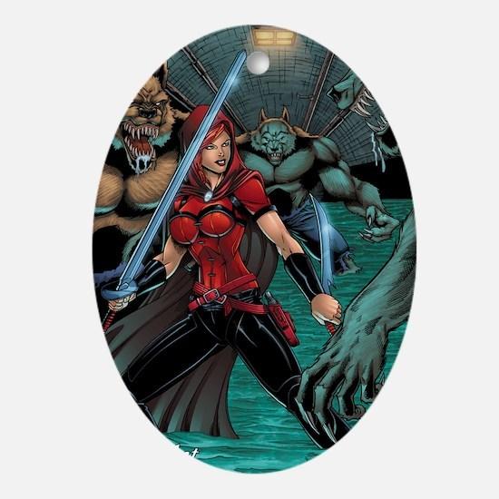 Scarlet Huntress vs Werewolves Oval Ornament