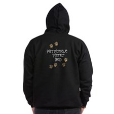 Patterdale Terrier Dad White Zip Hoodie (Dark)