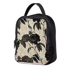 Black Roses Pattern Neoprene Lunch Bag