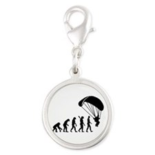 Evolution Skydiving Silver Round Charm