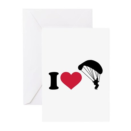 I love Sky diving Greeting Cards (Pk of 10)