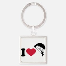 I love Sky diving Square Keychain