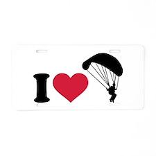 I love Sky diving Aluminum License Plate