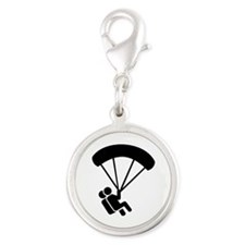 Skydiving tandem Silver Round Charm