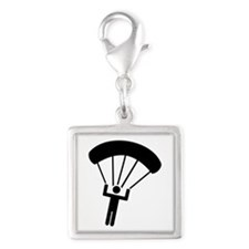 Skydiving icon Silver Square Charm