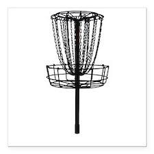 """Disc Golf Basket Square Car Magnet 3"""" x 3"""""""