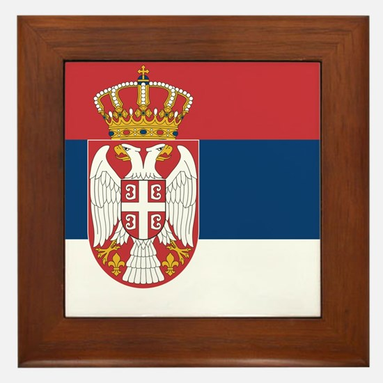 Flag of Serbia Framed Tile