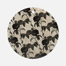 Black Roses Pattern Ornament (Round)