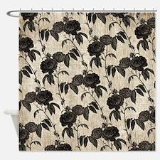 Black Roses Pattern Shower Curtain