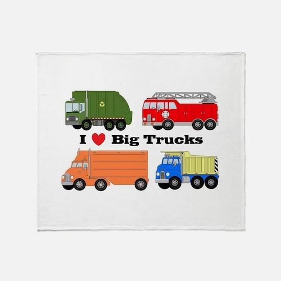 I Heart Big Trucks Throw Blanket