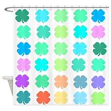 4 leaf clover pattern Shower Curtain