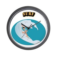 Surf With Text Wall Clock