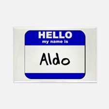 hello my name is aldo Rectangle Magnet