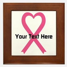 Personalized Pink Ribbon Heart Framed Tile