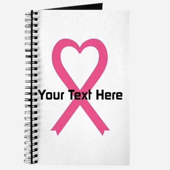 Personalized Pink Ribbon Heart Journal