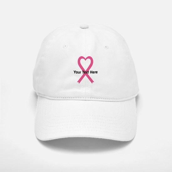 Personalized Pink Ribbon Heart Baseball Baseball Cap