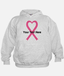 Personalized Pink Ribbon Heart Hoodie