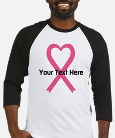 Personalized Pink Ribbon Heart Baseball Jersey