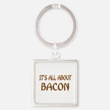 All About Bacon Square Keychain