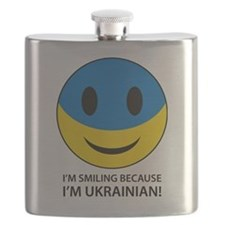 Happy to be Ukrainian Smiley Face Flask