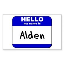 hello my name is alden Rectangle Decal