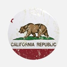 California Republic Distressed Flag Ornament (Roun