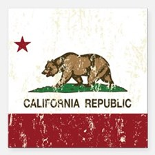 California Republic Distressed Flag Square Car Mag