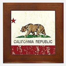 California Republic Distressed Flag Framed Tile