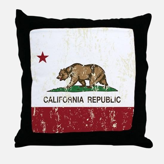 California Republic Distressed Flag Throw Pillow