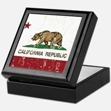California Republic Distressed Flag Keepsake Box