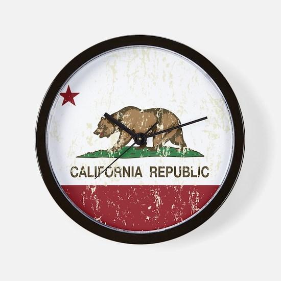 California Republic Distressed Flag Wall Clock